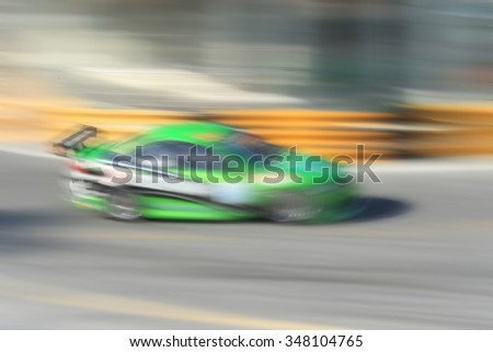 Abstract blur of racing car motion blur on tracking.