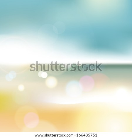 Abstract blur of sea with bokeh effect background - stock photo