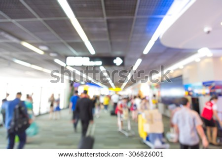 Abstract blur passenger in the airport - stock photo