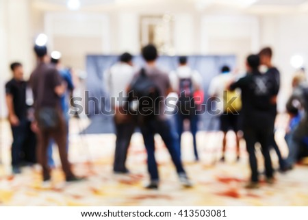 Abstract blur people in press conference meeting, new product 