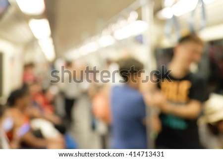abstract blur people in subway - stock photo