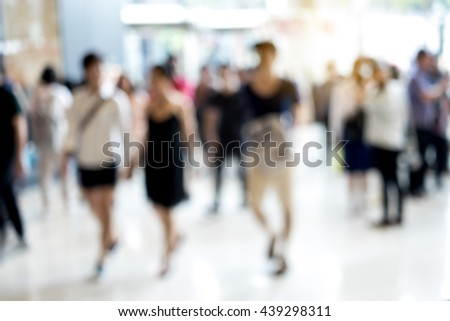 Abstract blur people walking in fashion mall - stock photo