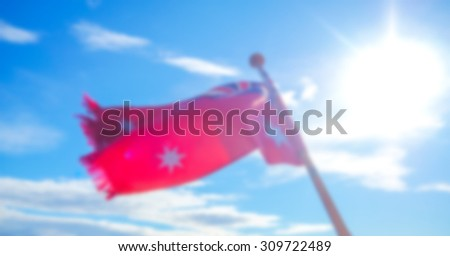 Abstract blur Red flags - stock photo