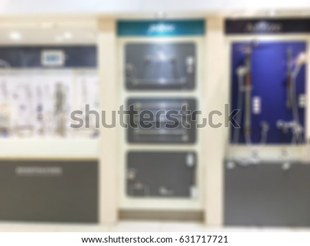 Abstract blur selling baths and other sanitary ware in the largest furniture store for background