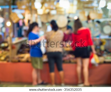 Abstract blur the people at the  wicker store. - stock photo