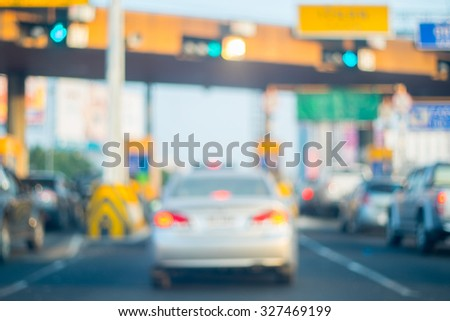 Abstract blur tollway payment gate - vintage effect - stock photo