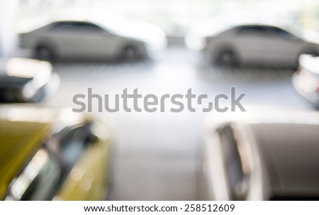 Abstract blur urban indoor car park background - stock photo