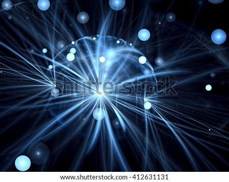 Abstract blurred background - computer-generated image. Chaos bubbles and curves on a dark background with bokeh. Fractal artwork for web-design, banners, posters. - stock photo