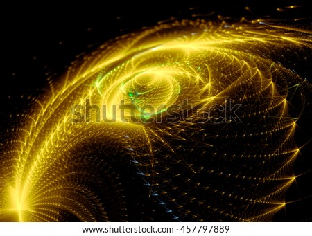 Abstract blurred background - computer-generated image. Fractal art: bright glowing feather consisting of points and curves. Digital art for banners, covers and web design. - stock photo