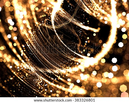 Abstract blurred background - computer-generated image. Golden blur of randomly placed glowing curves and points and polygon bokeh. For web-design, covers, backdrops. - stock photo