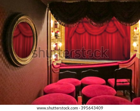 Abstract blurred background image. The interior of the theater arts. The auditorium with seats and balcony - stock photo