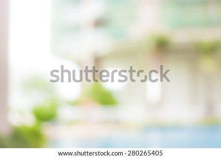 Abstract blurred beautiful swim pool. Soft Insurance CSR Ecology Ecofriendly Peace Blue White Clean Freedom Office Spring Earth Sea Ocean Life Tree Plant Zen Spa Relax Top Vibrant concept. - stock photo