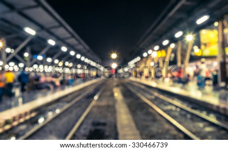 Abstract blurred car and train station in Bangkok,Thailand - stock photo