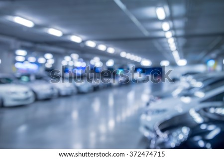 Abstract blurred car in parking background - Color tone effect - stock photo