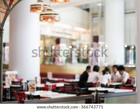 Abstract blurred coffee shop in department store - stock photo