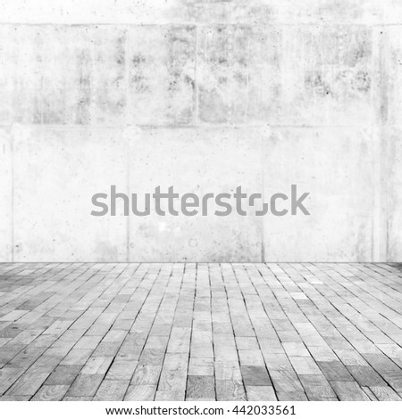 Abstract blurred empty interior with wooden floor and white concrete wall, square background photo, selective focus
