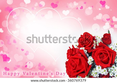 Abstract blurred free space background of Valentine's day concept. Pink white hearts wallpaper. Flower love card. Pastel color tones. Bouquet of beautiful red roses. Happy valentine's day text. - stock photo