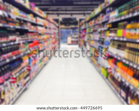 Abstract blurred inside grocery store/ supermarket.