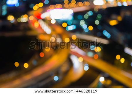 Abstract blurred lights background, Aerial view twilight, city road interchanged - stock photo