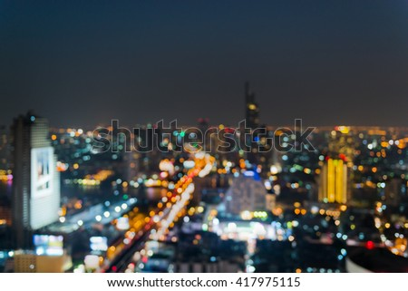 Abstract blurred lights of Bangkok city of Thailand, Night city. - stock photo