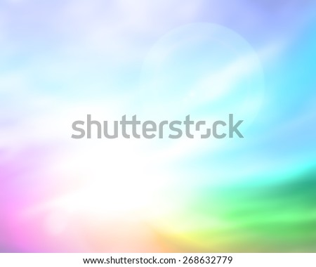 Abstract blurred nature background. Sandy beach backdrop with turquoise water and bright sun light. Summer holidays concept. - stock photo