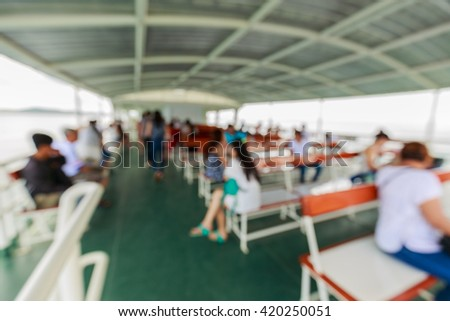 abstract blurred of passenger lobby on ferry background - stock photo