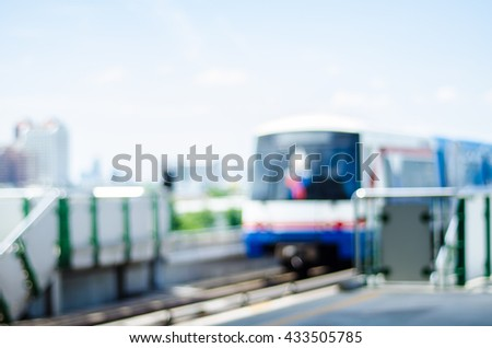 Abstract blurred of railway in Bangkok. - stock photo