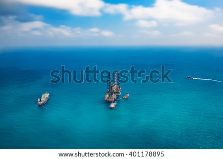 Abstract blurred oil rig in the gulf :ideal use for background
