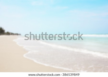 Abstract blurred on vacation summer ocean beach background . Blue water and sky bright. Nature wallpaper of sea daytime. View outdoor. - stock photo