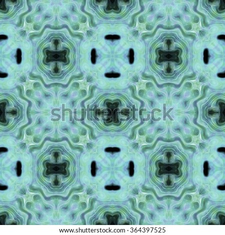 Abstract blurred paisley green ornament. Seamless pattern or textures. Kaleidoscopic orient popular style