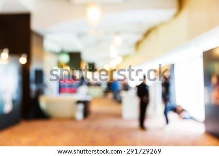 Abstract blurred people in press conference event, business concept - stock photo