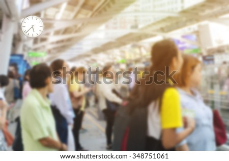 Abstract Blurred People of Urban Life in Rush Hour in the Morning of Working Day - stock photo