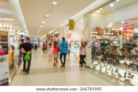 Abstract blurred People Rushing in Shopping center. - stock photo