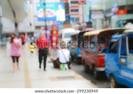 abstract blurred people walking in outdoor shopping  - stock photo