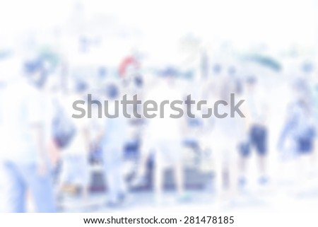 Abstract blurred people walking in the city - stock photo