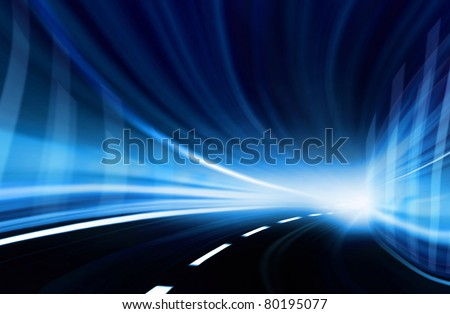 Abstract blurred speed motion in a blue urban highway tunnel, moving toward the light. Computer generated illustration. - stock photo