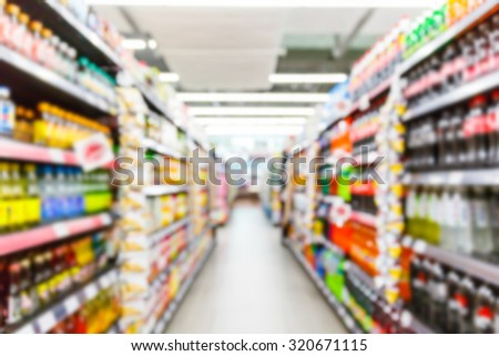 Abstract blurred supermarket, urban lifestyle concept