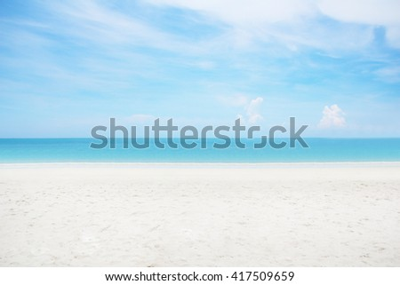 Abstract blurred surfing wave on summer ocean beach background . Blue water and sky bright. Nature wallpaper blur of sea daytime. View outdoor window. - stock photo