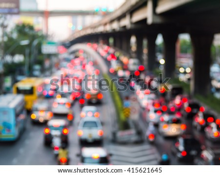 abstract blurred traffic jam in the big city.