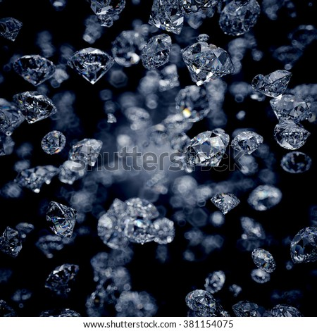 abstract blurry wallpaper, falling diamonds, clear gems isolated on black background - stock photo