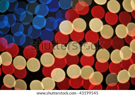 Abstract Bokeh American Flag Background on black. - stock photo