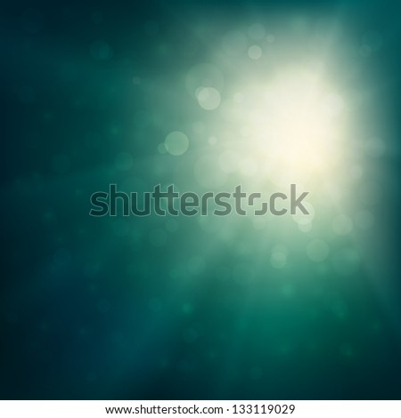 Abstract bokeh background illustration with sunbeams - raster version - stock photo