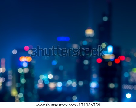 Abstract  bokeh   cityscape of Bangkok night background / illustration - stock photo
