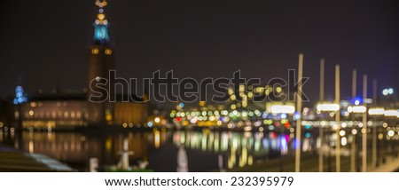 Abstract bokeh (defocused) lights of Stockholm's city skyline.
