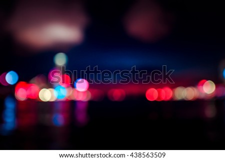 Abstract Bokeh Hong Kong City background in vintage color tone