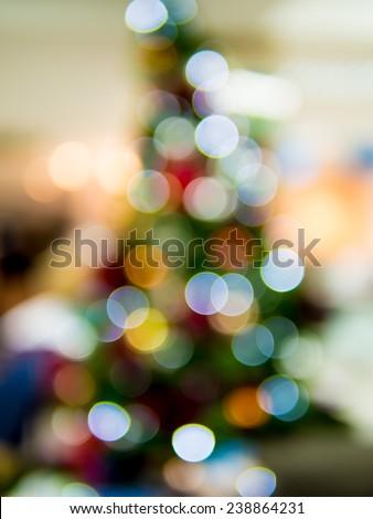 Abstract bokeh light on Christmas tree - stock photo