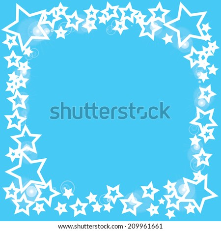 abstract bokeh white star on a blue background