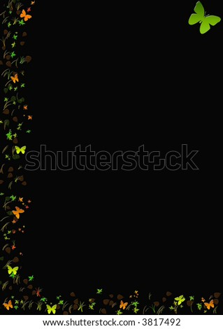 Abstract border on black paper with butterflies - stock photo