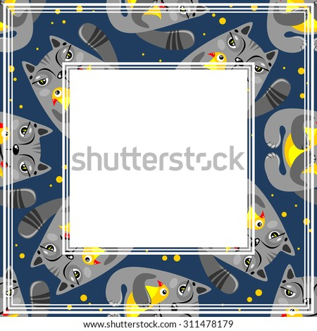 Abstract border with cat and bird pattern on a dark background. - stock photo