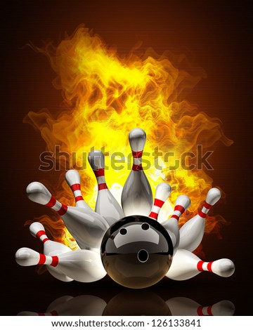 Abstract Bowling Ball crashing into the pins on fire. High resolution 3d render - stock photo